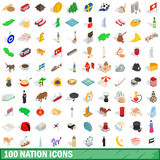 100 nation icons set, isometric 3d style. 100 nation icons set in isometric 3d style for any design vector illustration Royalty Free Stock Photos