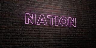 NATION - realistische Leuchtreklame auf Backsteinmauerhintergrund - 3D übertrug freies Archivbild der Abgabe Stockfoto