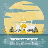 Nation von Brunei-Marksteinen Retro- angeredetes Bild Sultan Omar Ali Lizenzfreie Stockfotos