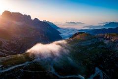 Nationaal Aardpark Tre Cime In de Dolomietalpen Mooi n Stock Fotografie