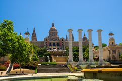 Nationaal Art Museum en Magische Fontein, Barcelona, Catalonië, SP royalty-vrije stock afbeeldingen