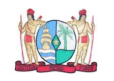 Nationaal Embleem van Suriname die op Wit wordt geïsoleerdt Royalty-vrije Stock Foto