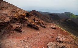 Nationaal het parkpanorama van Etna van vulkanisch landschap met krater, Catanië, Sicilië Royalty-vrije Stock Afbeeldingen