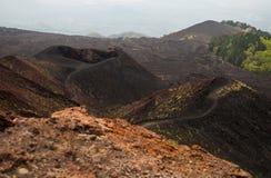 Nationaal het parkpanorama van Etna van vulkanisch landschap met krater, Catanië, Sicilië Royalty-vrije Stock Fotografie