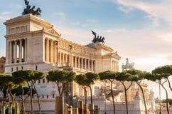 Nationaal Monument aan Victor Emmanuel II in Rome stock foto's