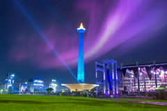 Nationaal monument met nachthemel Stock Fotografie
