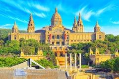 Nationaal Museum in Barcelona Museu Nacional D Art de Catalunya stock fotografie