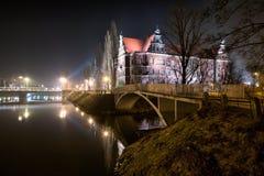 Nationaal Museum in de nacht, Wroclaw Stock Afbeelding