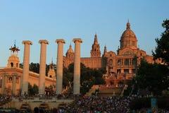 Nationaal Paleis van Barcelona in berg van Montjuic. Catalonië, Spanje. Royalty-vrije Stock Afbeelding