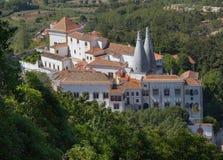 Nationaal paleis van Sintra, hoogste mening royalty-vrije stock foto