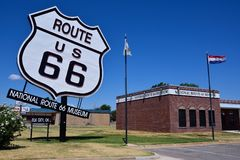 Nationaal Route 66 -Museum in Elandenstad, Oklahoma Stock Afbeeldingen