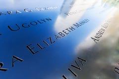 Nationaal 11 September Gedenkteken in Lower Manhattan, de Stad van New York Stock Foto