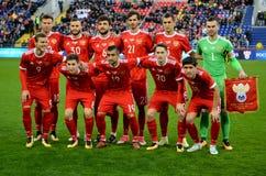 Nationaal team van Rusland vóór internationale vriendschappelijke gelijkeagai Royalty-vrije Stock Foto's