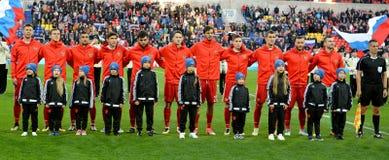 Nationaal team van Rusland vóór internationale vriendschappelijke gelijkeagai Stock Afbeeldingen