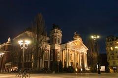 Nationaal theater Ivan Vazov in de nachtscène van Sofia Stock Fotografie