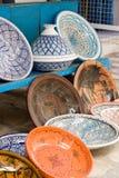Nationaal traditioneel aardewerk Verkocht op de straat Mahdia Royalty-vrije Stock Foto