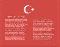Nationaal Turks istiklal moeras als vectoraffiche van de onafhankelijkheidshymne met tekst Royalty-vrije Stock Foto
