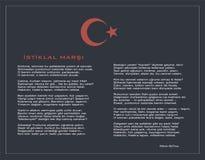 Nationaal Turks istiklal moeras als vectoraffiche van de onafhankelijkheidshymne met tekst Stock Afbeeldingen