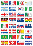 National 3 letter code flags. Football world cup 32 nations flags in 3 letter code set. Vector illustration stock illustration