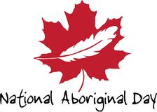 National Aboriginal Day Canada logo. Logo - Canada red maple leaf with white feather inside and National Aboriginal Day below Stock Illustration