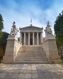 The National academy, with Apollo, Athena, Plato a. Nd Socrates statues, Athens Greece Royalty Free Stock Images