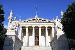 The National Academy of Athens (Greece). The National Academy Building in Athens. The building, which was built from 1859-1885, is located on the south of The Royalty Free Stock Photo