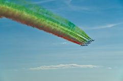 National Acrobatic Patrol, Italy. Tricolor arrows on exhibition in the blue sky, Italy Stock Images