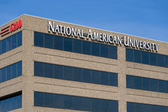 National American University Exterior and Logo Stock Images