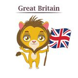 National animal with British flag Royalty Free Stock Images