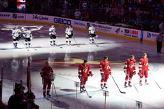 National Anthem at hockey game. At a Phoenix Coyotes versus Los Angeles Kings game stock photos