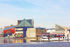 National Aquarium and submarine Torsk in Baltimore Harbor in winter. Stock Photos