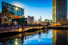 The National Aquarium and World Trade Center at the Inner Harbor. In Baltimore, Maryland Stock Images