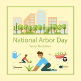 National Arbor Day. Greeting card. Poster of ecology concept. Vector illustration eps 10 vector illustration