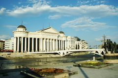 National archeology museum in Skopje, Macedonia. View from across river Vardar Stock Photography