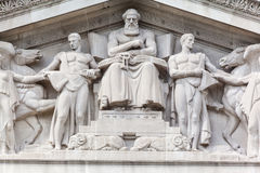 National Archives Building Washington DC. Detail of the sculptures on the facade of the National Archives building. Washington DC royalty free stock image