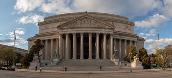 National Archives Facade. A panorama picture of the National Archives` building, in Washington stock image