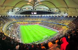 National Arena home 4 Europa League final in 2012. Panoramic view of the National Arena soccer stadiu in Bucharest during the UEFA Champions League group match Royalty Free Stock Photography