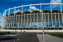 National Arena Stadium. In Bucharest, Romania under the bright blue sky. The VIP entrance Stock Photos