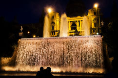 The National Art Museum in Barcelona at night Royalty Free Stock Images