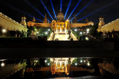 National Art Museum of Catalonia in Barcelona at night Royalty Free Stock Photo