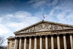 National Assembly, Paris, France. The ` Assemblée nationale ` National Assembly in french is the French Parliament. The building is located near from the stock photo