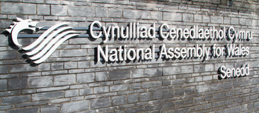 National Assembly Wales sign Stock Image