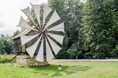 National Astra Museum in Sibiu - Old wood windmill in the sun Stock Photos