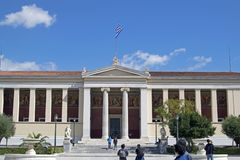 National Athens University, part of the Athens architectural triad. Landmark in the city center, Greece. Facade of a university building with columns stock image