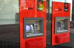 National Australia Bank, one of the `Big Four`, has branches and ATM`s across the globe, including this one in Oxford street. Sydney, Australia - October 17 stock image