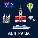 National Australian symbols and icons Royalty Free Stock Photo