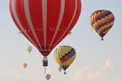 National Balloon Classic. Indianola, IA, USA - July 30, 2016: Hot air balloons float above Indianola, Iowa, during the National Balloon Classic on July 30 stock photos