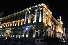 National Bank de la noche de Rumania Foto de archivo libre de regalías