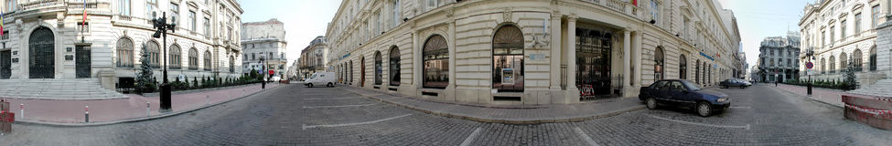 National Bank de la Roumanie 360 degrés de panorama Images stock