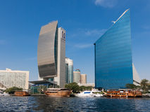 National Bank of Dubai and DCCI, the Creek in Dubai Stock Image